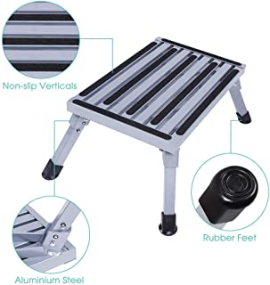 Cocoarm Safety Step Stool Portable Folding Aluminium Platform with Non Skid Rubber Feet, Durable Ladder Caravan Camping Accessories