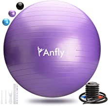 Anfly Exercise Ball - Extra Thick Large Anti-Burst Stability Ball, Pilates Yoga Ball Sizes for Pregnancy, Birthing, Body Workout Training and Physical Therapy