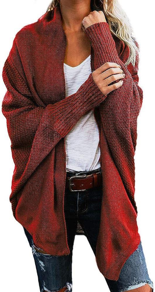 JPLZi Womens Long Batwing Sleeve Asymmetric Hem Casual Pullover Sweaters Knit Tops Cardigan Loose Open Front Sweater Coat