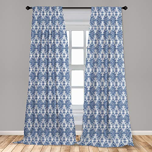 """Ambesonne Blue and White Curtains, Abstract Tie Dye Effect Ikat Shibori Pattern in Bohemian Fashion, Window Treatments 2 Panel Set for Living Room Bedroom Decor, 56"""" x 84"""", Navy Blue"""