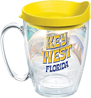 Tervis 1272795 Florida - Key West Collage Tumbler with Wrap and Yellow Lid 16oz Mug, Clear