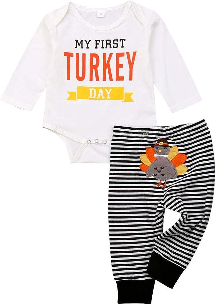 Koloyooya Newborn Baby Girl Boy My 1st Thanksgiving Clothing Fun One Piece Turkey Print Pants Clothes Set