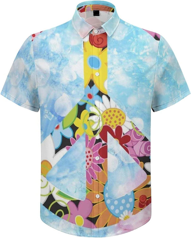 Men's Short Sleeve Button Down Shirt Peace Floral Sign Summer Shirts
