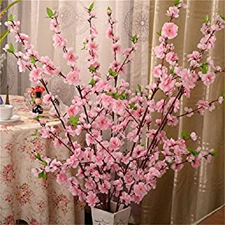 5Pcs Spring Peach Blossom Cherry Plum Bouquet Branch Silk Flower,Artificial Flowers Fake Flower for Wedding Home Office Party Hotel Yard Decoration