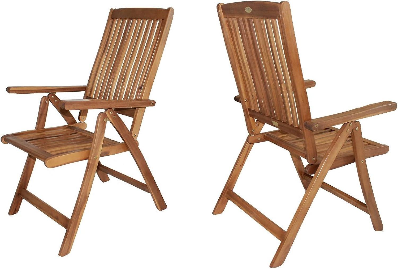 2-er Set Stuhl Sessel Balkon Garten Armchair Natur Eukalyptusholz FSC