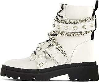 Women Flat leather biker ankle boots 7160/001/001