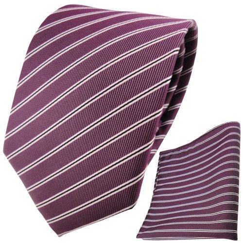 TigerTie Designer Krawatte Designer Einstecktuch in pflaume violett silberweiß schwarz gestreift