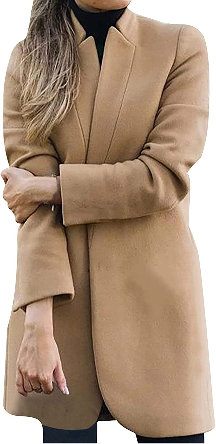 Fashion Womens Wool Coat Stand Up Collar Trench Jacket Ladies Long Winter Warm Overcoat Outwear Wool Blend Trench Coat