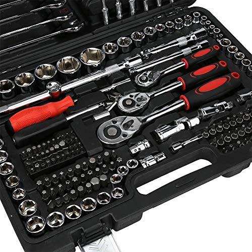 Juego de llaves de vaso, juego de llaves de trinquete de acero al cromo vanadio, industrias de maquinaria para reparación de automóviles, mantenimiento básico de electrodomésticos