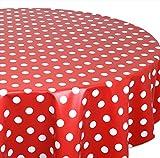 Wachstuchtischdecke OVAL RUND ECKIG Farbe u. Größe wählbar, Tischdecke Wachstuch abwischbar, Punkte Dotti (Rund 130 cm, Rot)