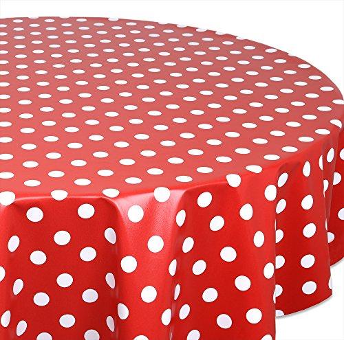 Wachstuchtischdecke OVAL RUND ECKIG Farbe u. Größe wählbar, Tischdecke Wachstuch abwischbar, Punkte (Rot Rund 140 cm)