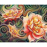 5DダイヤモンドペインティングフルキットDiyダイヤモンドペインティングキット抽象牡丹フラワークロスステッチダイヤモンド刺繡フラワーパターンラインストーンモザイク家の装飾40x50cm