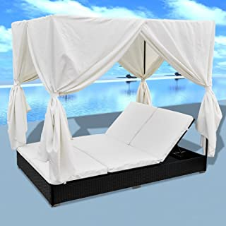 Festnight 2-Person Sun Lounger with Curtains Patio Chaise Lounges Sunbed Outdoor Sofabed Garden Furniture Weather-Resistan...