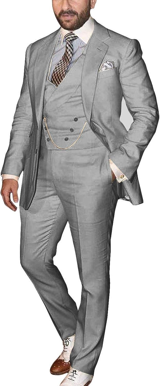Wemaliyzd Men's Casual 3 Pcs Dress Suit Notch Lapel Blazer Coat Waistcoat Pants