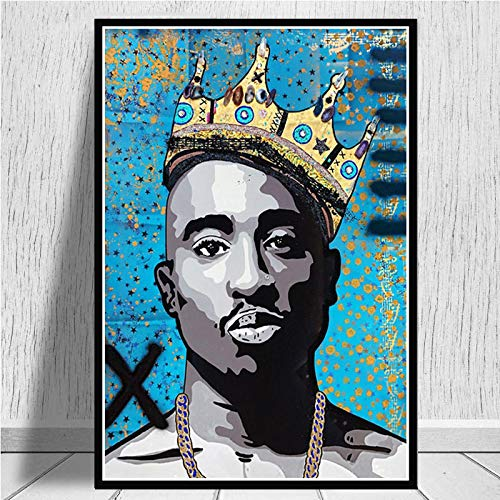Aishangjia Oil Painting Canvas 2Pac Tupac The Notorious Freddie Mercury Rapper Stars Poster Wall Art Pictures Living Room Home Decor 40x50 cmJ-1599