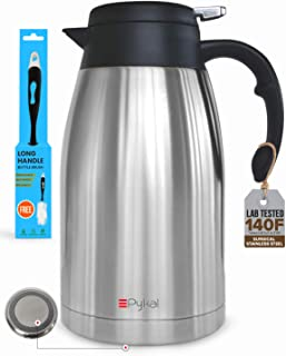 Thermal Coffee Carafe Stainless Steel – Heavy Duty, 24hr Lab Tested Heat Retention,..
