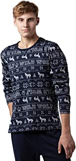 Pijama largo de algodón de dos piezas para hombre, para invierno, cálido, de manga larga, ropa de dormir