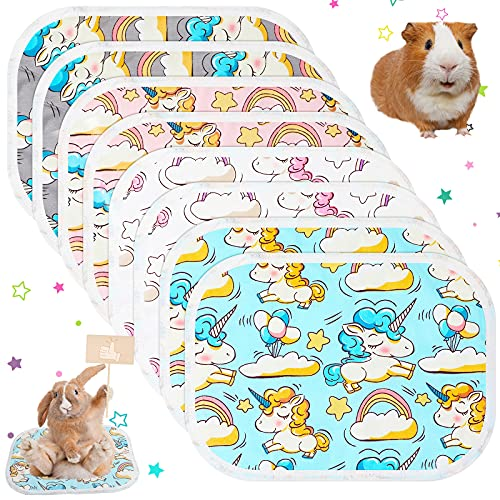Jetec 8 Pieces Guinea Pig Cage Liner Guinea Pig Bedding Washable Pee Pad Anti-Slip and Highly Absorbent Guinea Pig Bedding Waterproof Pet Training Pad for Small Animal Supplies (Unicorn Pattern)