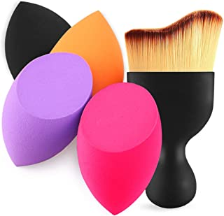 4+1Pcs Makeup Sponges with Contour Brush by BEAKEY, Makeup Blending Sponge for Dry & Wet Use, Latex-free Makeup Blender Beauty Sponge, Multi-Colored