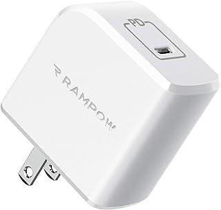 Rampow 61W USB-C 急速充電器 PD充電器 PD/QC対応【GaN (窒化ガリウム)採用/折りたたみ式プラグ/小型/PSE認証】MacBook/MacBook Air/MacBook Pro、iPhone 11/11 Pro/XR...