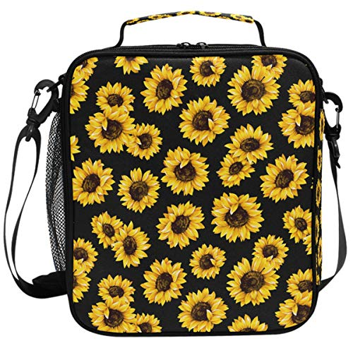 Wamika Vintage Sunflower Black Background Lunch Box Insulated Lunch Bag Large Freezable Summer Tropical Flower Lunch Bag Tote Cooler Lunch Meal with Shoulder Strap