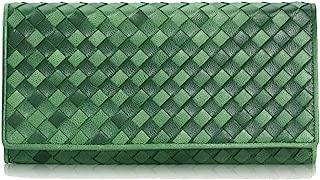 Women's Wallet Hand-Woven Clutch Bag Long Zipper Wallet Retro Wallet Candys house (Color : Green, Size : 19 * 9 * 3cm)