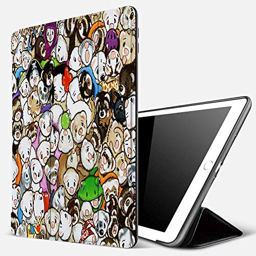 iPad 9.7 inch 2017/2018 Case/iPad Air/Air 2 Cover,One Hundred Million Ferrets,PU Leather Shockproof Shell Stand Smart Cover with Auto Wake