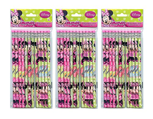 3-Pack Disney Minnie Mouse Bowtique 12ct #2 Wood Pencils (36 Total)