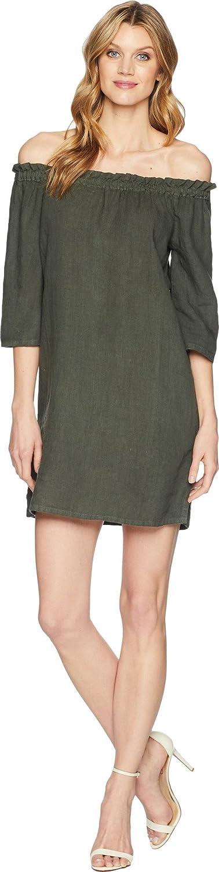 Allen Allen Womens Ruffle Edge Linen Dress