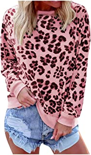 Women's Sweatshirt Leopard Print Long Sleeve Crew Neck Fit Casual Pullover Tops Shirts - Limsea