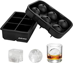 Ankway Large Ice Cube Trays Easy Pop Release Silicone Set of 2 Reusable BPA Free Silicone Ice Cube Molds Square Shapes & Sphere Round Ice Mold for Whiskey Drinks and Cocktails