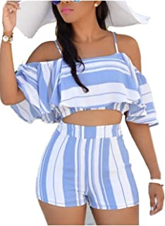 Swallowuk Damen Zweiteiler Shorts +Top Sets Sommer Ruffle Sling Tank Top und Shorts Strand Party Streifen T-shirt Kurz Hosen Suit (XL, Blau)