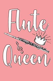 Flute Queen: Blank Lined Journal 6x9 – Marching Band Church Worship Notebook I Flutist Girl Gift for Christians and Orchestra Fans