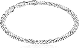 Plated Sterling Silver Mesh Chain Bracelet
