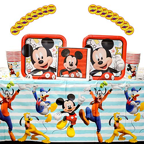Disney Mickey On the Go Supplies Pack for 16 Guests: Stickers, Dinner Plates, Luncheon Napkins, Table Cover, and Cups