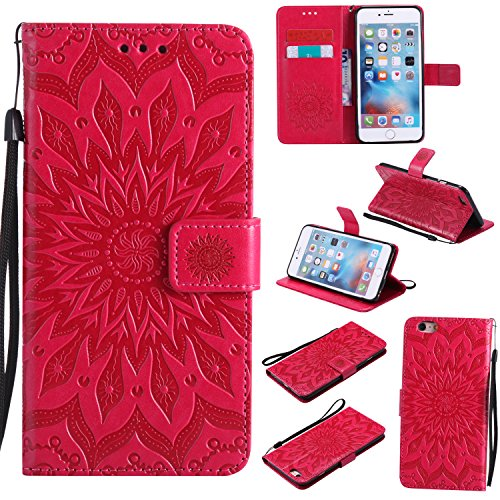 A-slim iPhone 6 / 6S Wallet Case, (TM) Sun Pattern Embossed PU Leather Magnetic Flip Cover Card Holders & Hand Strap Wallet Purse Case for iPhone 6 / 6S [4.7 Inch] - Red