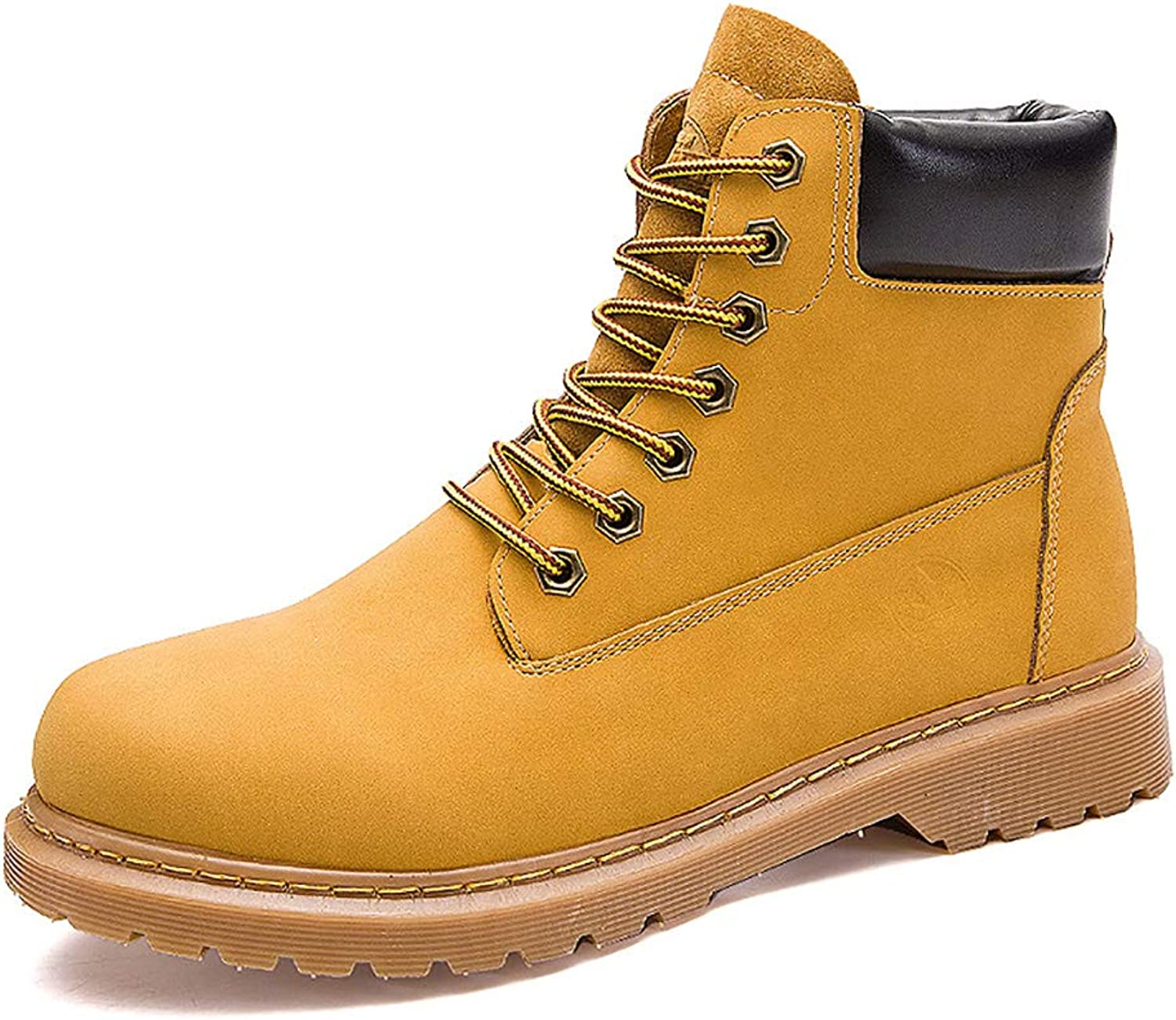 TTRR Martin boots male couple rhubarb shoes big head tooling shoes men casual wild outdoor England high-top boots (color   Yellow, Size   44)