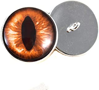 16mm Amber Cat Sew On Glass Eyes Buttons with Loop for Crocheted Doll Stuffed Animal Soft Sculptures or Jewelry Making Crafts - Set of 2