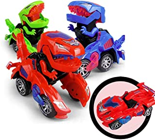 Starhig Dinosaur Cars Transforming Toys,Automatic Transformation, LED Transformation of Dinosaur Cars Combined Into One,Light Music Kids Toy Gift