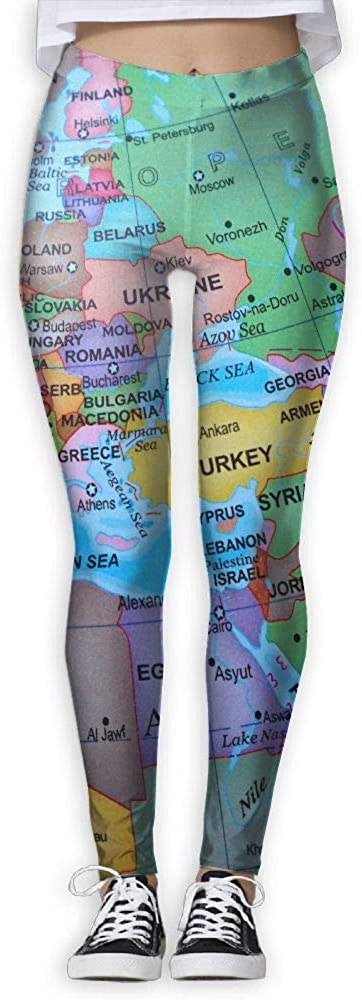 FINOHM Multicolored Globe Map Provide Women with High-Waisted, Ultra Soft Lightweight Gym Yoga Leggings