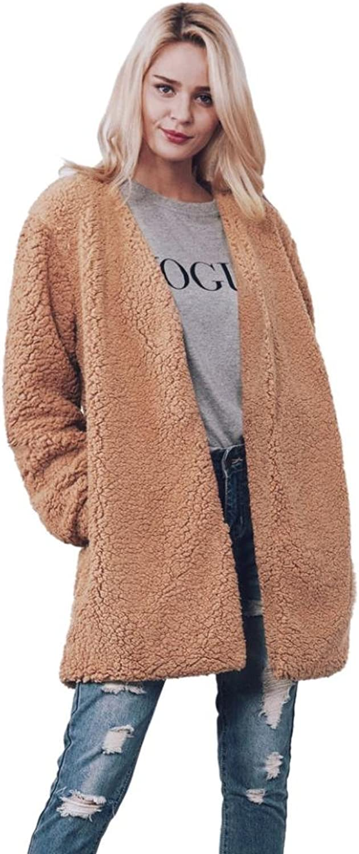 Gotd Women Warm Faux Fur Long Sleeve Jacket Coat Solid Waistcoat Outerwear Casual Autumn Spring Winter Plus Size (2XL, Brown)