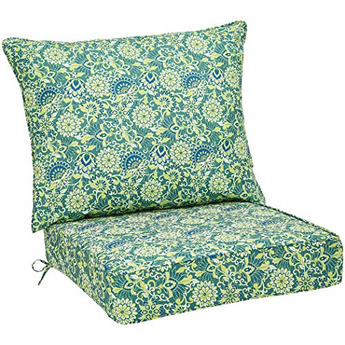 Amazon Basics Deep Seat Patio Seat and Back Cushion Set - Green/Blue Flower
