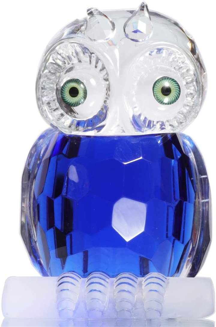 WaltzF Crystal Owl Collectible Animal Figurine Crystal Paperwei