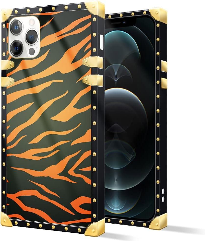 iPhone 12 Mini Case,Luxury Metal Decoration Animal Red Zebra for iPhone 12 Mini case,Square Soft TPU Bumper Phone Cases for Women Girls iPhone 12 Mini 5.4-inch Animal Red Zebra