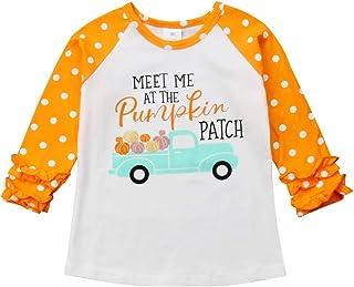 Baby Kids Girl Unicorn Thanksgiving Christmas Car Print Ruffle Polka Dot Cotton T-Shirt Top Outfits