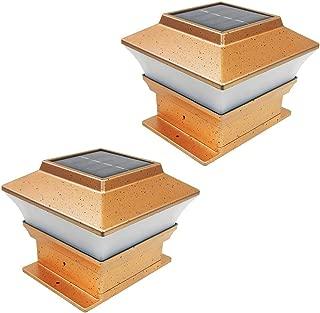 iGlow 2 Pack Copper Outdoor Garden 4 x 4 Solar LED Post Deck Cap Square Fence Light Landscape Lamp PVC Vinyl Wood Bronze
