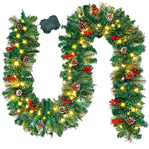 ATDAWN 9 Foot Christmas Lighted Garland, Battery Operated Christmas Garland with Lights, Pre Lit Garland Wreath with Pine Cones for Indoor Home Winter Holiday New Year Xmas Decorations