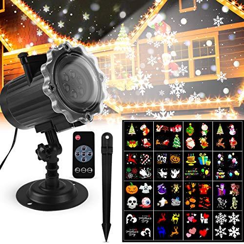 Luces Proyector Navidad LED Luces Proyector Exterior/Interiores Iluminación de Proyector de Jardín Lámpara de Proyector con 16 HD Patrones con Mando a Distancia para Navidad