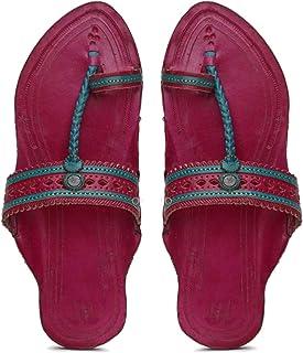 KALAPURI� Ladies Kolhapuri Chappal in Genuine Leather with Pink Pointed Shape Base and Pink Punching Upper. Handmade in Ko...