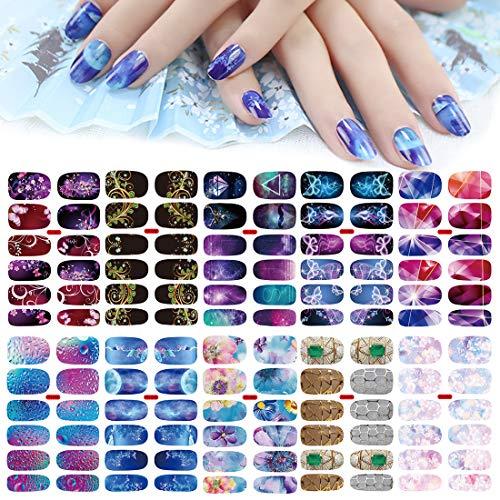 10 Blatt Nagelaufkleber Nagelsticker,MWOOT Nail Art Aufkleber,Design Selbstklebende Maniküre Sticker Schöne Mode DIY Dekoration